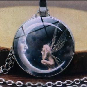 Jewelry - Glass Fairy On The Moon Charm Goth Fantasy Pendant